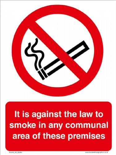 It is against the law to smoke in any communal area of these premises